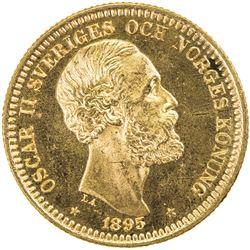 SWEDEN: Oscar II, 1872-1907, AV 20 kronor, 1895. UNC