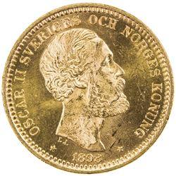SWEDEN: Oscar II, 1872-1907, AV 20 kronor, 1898. UNC