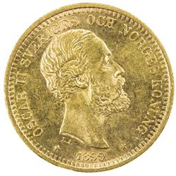SWEDEN: Oscar II, 1872-1907, AV 20 kronor, 1899. UNC