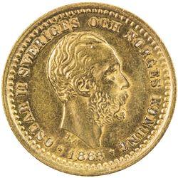 SWEDEN: Oscar II, 1872-1907, AV 5 kronor, 1883. EF-AU