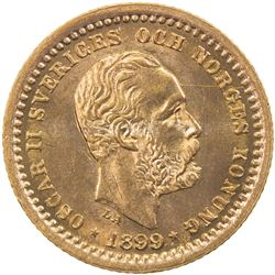 SWEDEN: Oscar II, 1872-1907, AV 5 kronor, 1899. UNC