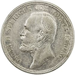 SWEDEN: Oscar II, 1872-1907, AR 2 kronor, 1898. EF