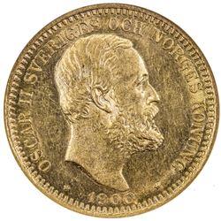 SWEDEN: Oscar II, 1872-1907, AV 20 kronor, 1900. ANACS MS61
