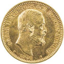 SWEDEN: Oscar II, 1872-1907, AV 20 kronor, 1902. UNC