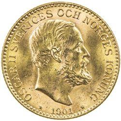 SWEDEN: Oscar II, 1872-1907, AV 10 kronor, 1901. UNC