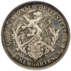 AARGAU: AR shooting medal (23.85g), 1891. NGC MS64