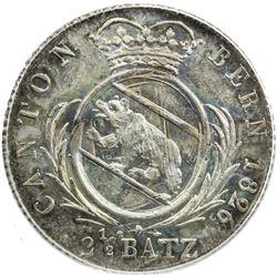 BERN: AR 2 1/2 batzen, 1826. PCGS MS65
