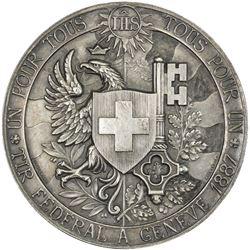 GENEVA: AR medal, 1887. AU-UNC