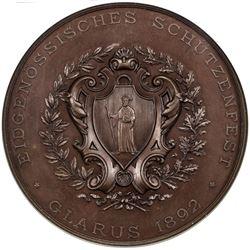 GLARUS: AE shooting medal, 1892. NGC PF66