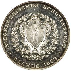 GLARUS: AR shooting medal, 1892. NGC PF62