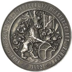 ZURICH: AR shooting medal (49.32g), 1892. EF-AU
