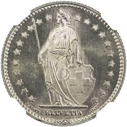 SWITZERLAND: Confederation, AR franc, 1920-B. NGC MS66