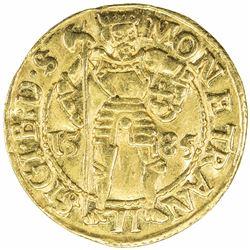 TRANSYLVANIA: Sigismund Bathory, 1581-1602, AV ducat (3.44g), Hermannstadt, 1585. VF-EF