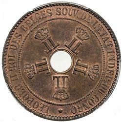 BELGIAN CONGO: Leopold II, 1885-1909, AE 10 centimes, 1888. PCGS MS66