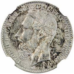 BELGIAN CONGO: Leopold II, 1885-1908, AR 50 centavos, 1887. NGC MS65