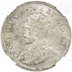 EAST AFRICA: George V, 1910-1936, AR shilling, 1924. NGC MS64
