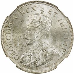 EAST AFRICA: George V, 1910-1936, AR shilling, 1925. NGC MS64