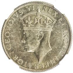 EAST AFRICA: George VI, 1936-1952, AR shilling, 1941-I. NGC AU58