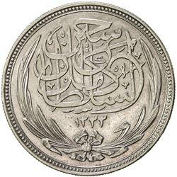 EGYPT: Hussein Kamil, 1914-1917, AR 20 piastres, 1917/AH1335. EF