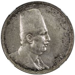 EGYPT: Fuad, 1922-1936, AR 20 piastres, 1923/AH1341. NGC AU55
