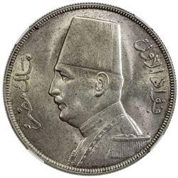 EGYPT: Fuad, 1922-1936, AR 20 piastres, 1929-BP/AH1348. NGC MS61