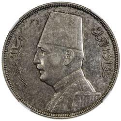 EGYPT: Fuad, 1922-1936, AR 20 piastres, 1933/AH1352. NGC AU55