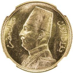 EGYPT: Fuad, 1922-1936, AV 100 piastres, 1930/AH1349. NGC MS63