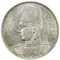 EGYPT: Farouk, 1936-1952, AR 20 piastres, 1939/AH1358. PCGS AU55