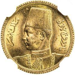 EGYPT: Farouk, 1936-1952, AV 20 piastres, 1938/AH1357. NGC MS65