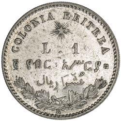 ERITREA: Umberto I, 1889-1900, AR lira, 1890-R. AU