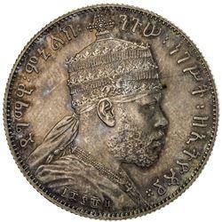 ETHIOPIA: Menelik II, 1889-1913, AR 1/2 birr, EE1889 (1896-7)-A. NGC PF61