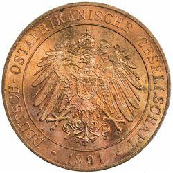 GERMAN EAST AFRICA: Wilhelm II, 1891-1918, AE pesa, 1891/AH1308. PCGS MS64
