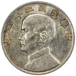CHINA: Republic, AR dollar, year 21 (1932). PCGS AU58