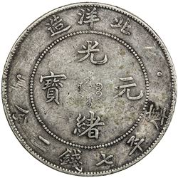 CHIHLI: Kuang Hsu, 1875-1908, AR dollar, year 34 (1908). VF