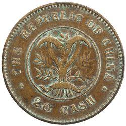 HUNAN: AE 20 cash, ND (1919). VF