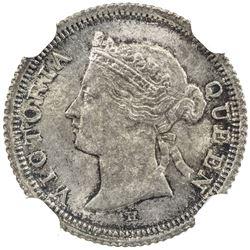 HONG KONG: Victoria, 1842-1901, AR 5 cents, 1882-H. NGC MS64