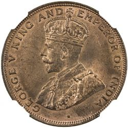HONG KONG: George V, 1910-1936, AE cent, 1919-H. NGC MS64