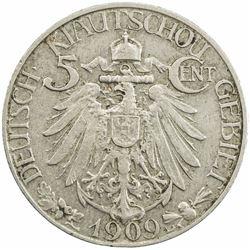 KIAUCHAU: Wilhelm II, 1888-1918, 5 cents, 1909. EF