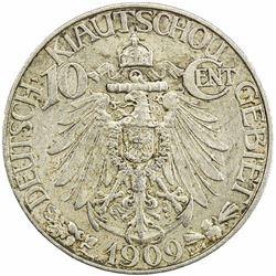 KIAUCHAU: Wilhelm II, 1888-1918, 10 cents, 1909. EF