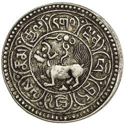 TIBET: AR 5 sho (7.92g), Dode mint, year 15-50 (1916). PCGS EF45