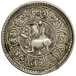 TIBET: AR 5 sho (8.54g), Mekyi mint, year 15-50 (1916). PCGS EF45