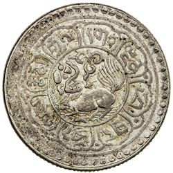 TIBET: AR 5 sho (8.71g), Mekyi mint, year 15-51 (1917). PCGS AU53