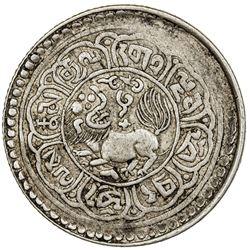 TIBET: AR 5 sho (8.81g), Mekyi mint, year 15-53 (1919). PCGS EF45