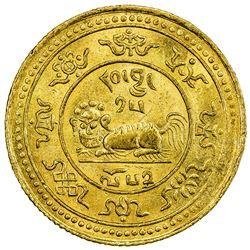 TIBET: AV 20 tam srang (11.32g), Gser Khang mint, year 15-52 (1918). PCGS AU58