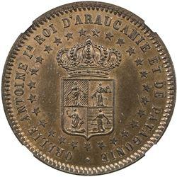 ARAUCANIA AND PATAGONIA: Orlie-Antoine de Tounens, King, 1860-1878, AE 2 centavos, 1874. MS65