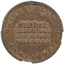 BARBADOS: AE halfpenny token, ND (ca. 1830). NGC AU53