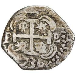 BOLIVIA: Philip V, 1700-1746, AR 2 reales (5.69g), Potosi (1)736. F-VF