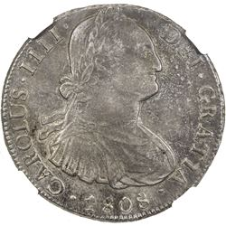 BOLIVIA: Carlos IV, 1788-1808, AR 8 reales, 1808-PTS. NGC AU53