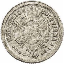 BOLIVIA: Republic, AR 5 centavos pattern (1.45g), 1868. UNC