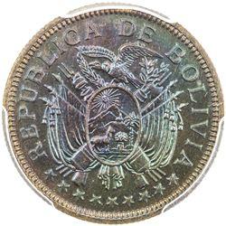 BOLIVIA: Republic, AE 5 bolivares, 1951-KN. PCGS SP